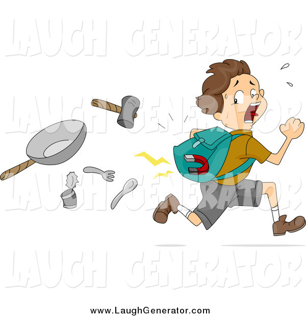 Humorous Clip Art of a Brunette White Boy with a Magnet in His Pack, Running from Items