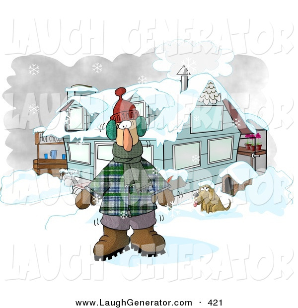 Humorous Clip Art of a Bundled White Man in Winter Clothes, Standing by a House with a Dog and Hot Chocolate Stand