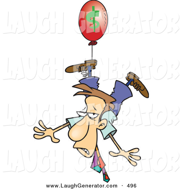 Humorous Clip Art of a Business Man Being Carried Away by a Red Inflation Balloon on White