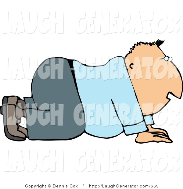 Humorous Clip Art of a Businessman Crawling Forward on His Hands and Knees