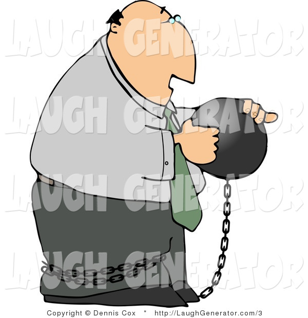 Humorous Clip Art of a Businessman Criminal Wearing a Ball and Chain Around His Ankle