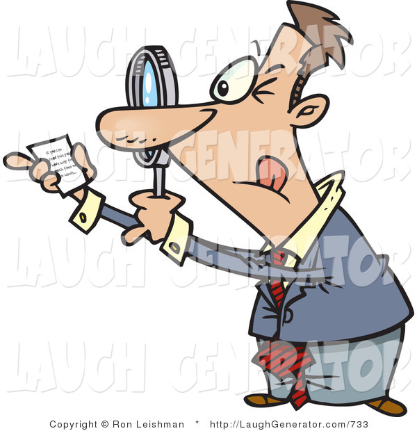 Humorous Clip Art of a Businessman Using a Magnifying Glass to Read Fine Print on a Document