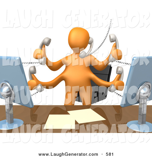 Humorous Clip Art of a Busy Orange Employee Person Standing in Front of Their Desk Chair, Two Computer Screens and Papers on Their Desk While Multitasking and Taking Multiple Phone Calls at Once