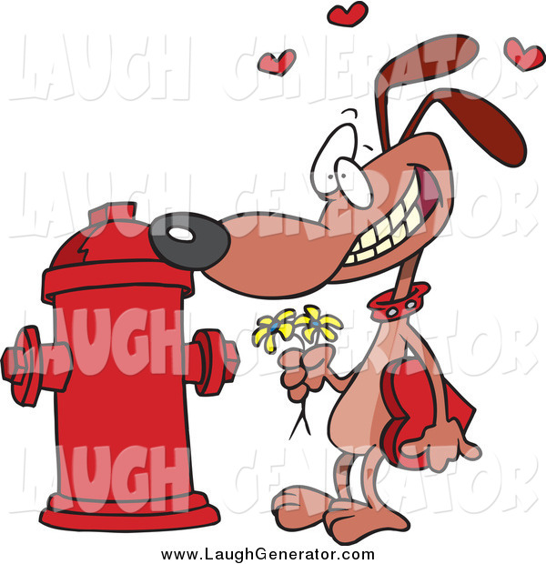 Humorous Clip Art of a Cartoon Dog Trying Courting a Fire Hydrant