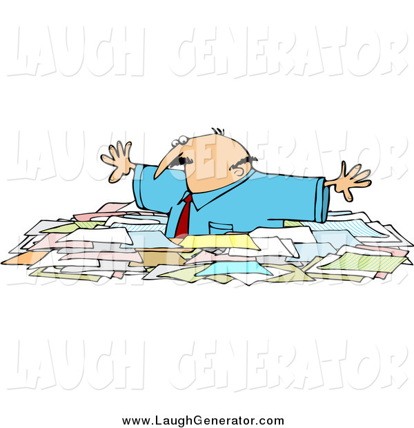 Humorous Clip Art of a Caucasian Businessman Wading Chest High Through Paperwork