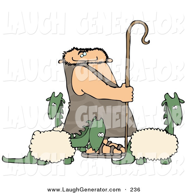 Humorous Clip Art of a Caucasian Caveman Shepherd Tending to His Wooly Dinosaurs