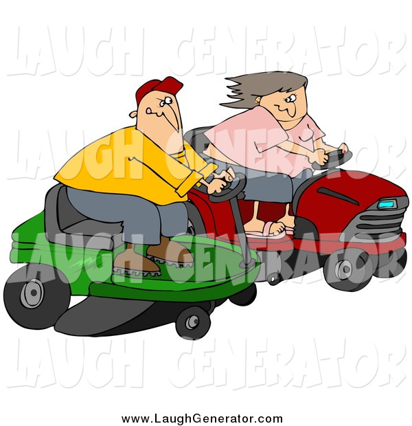 Humorous Clip Art of a Caucasian Couple, a Man and Woman, Racing Eachother on Riding Lawn Mowers