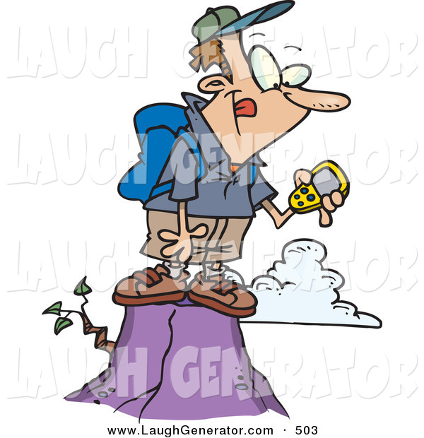 Humorous Clip Art of a Caucasian Hiker Man on Top of a Mountain, Using a GPS