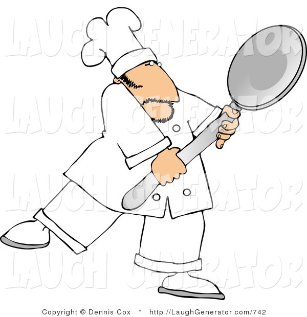 Humorous Clip Art of a Caucasian Male Chef in Whites Carrying a Big Spoon