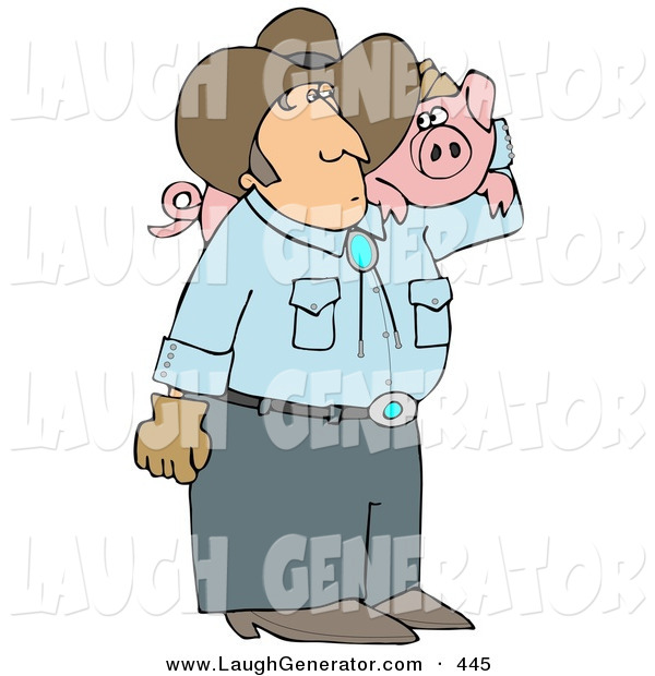 Humorous Clip Art of a Caucasian Male Farmer Carrying a Pet Pig on His Shoulder