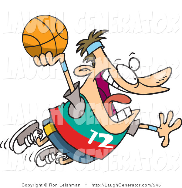 Humorous Clip Art of a Caucasian Man About to Slam Dunk a Basketball