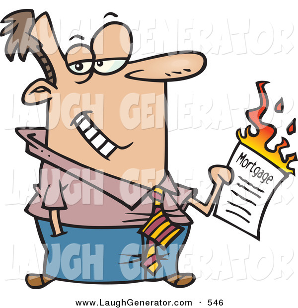 Humorous Clip Art of a Caucasian Man Burning His Mortgage Papers