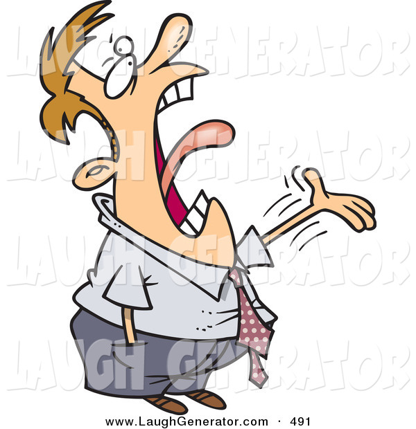 Humorous Clip Art of a Caucasian Man Complaining and Screaming to His Boss