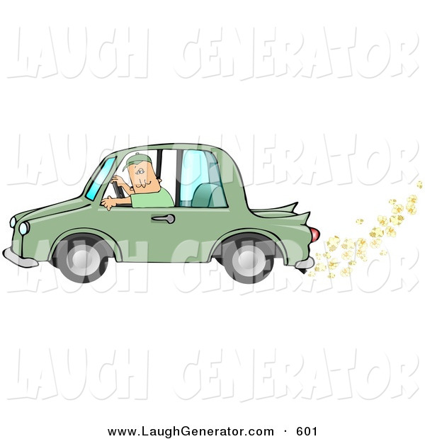 Humorous Clip Art of a Caucasian Man Driving a Biodiesel Green Car with Popcorn Popping out of the Muffler