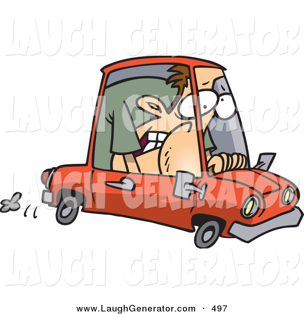 Humorous Clip Art of a Caucasian Man Squished into a Tiny Red Compact Mini Car