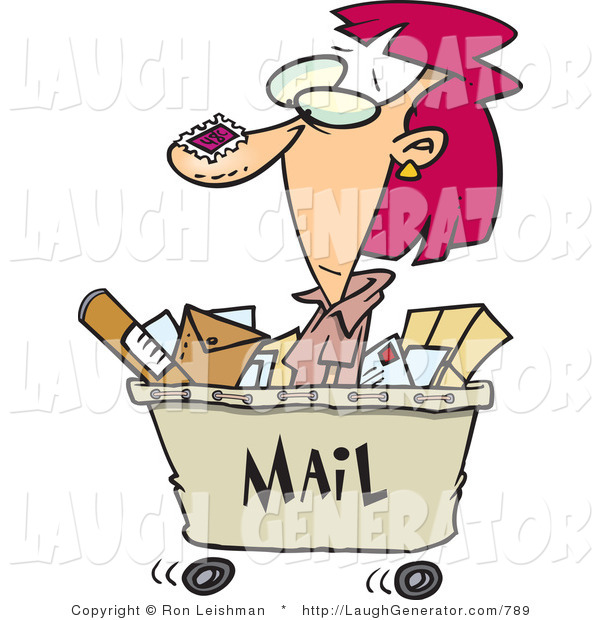 Humorous Clip Art of a Caucasian Woman in a Mail Cart, Stamped with Postage