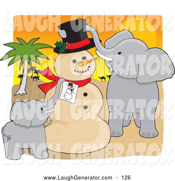 Humorous Clip Art of a Cheerful Snowman for Christmas in the Sahara