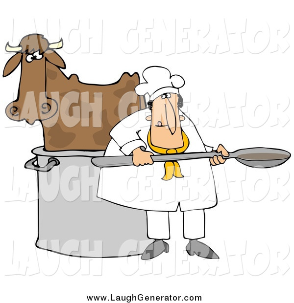 Humorous Clip Art of a Chef by a Cow in a Pot