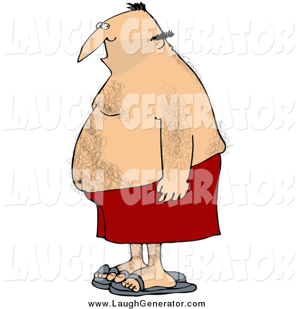 Humorous Clip Art of a Chubby Hairy Man in Profile