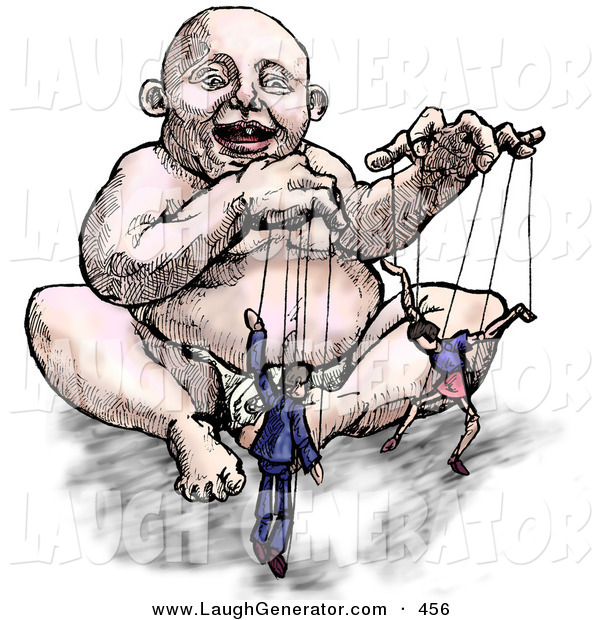 Humorous Clip Art of a Chubby White Baby Playing with His Parents on Strings like Puppets