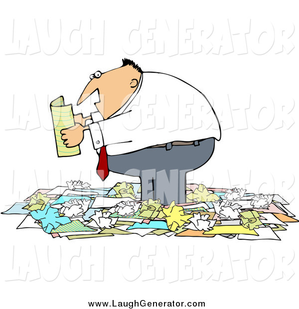Humorous Clip Art of a Chubby White Businessman Standing in a Pile of Crumpled Papers and Reading