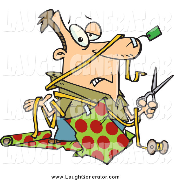 Humorous Clip Art of a Clueless White Man with a Tag Taped to His Nose and Wrapping Paper Taped to His Shirt, Holding a Pair of Scissors and Shrugging While Trying to Wrap Christmas Gifts