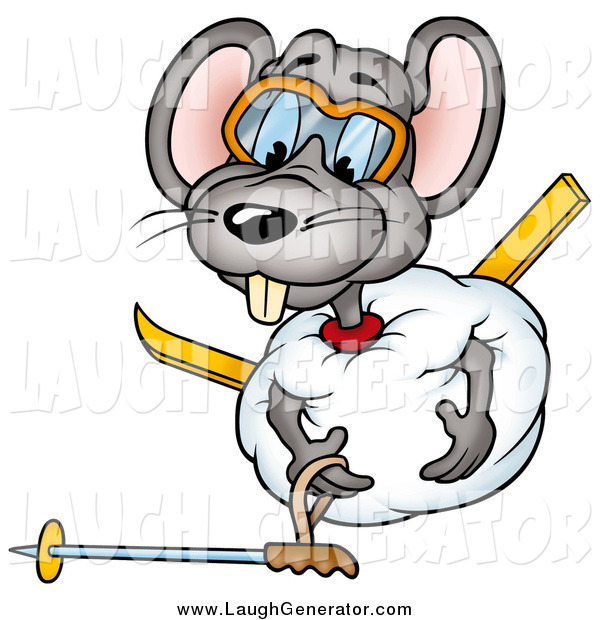 Humorous Clip Art of a Clumsy Gray Mouse Rolled up in a Ball of Snow, Trying to Get up