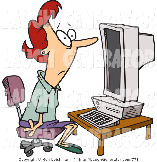 Humorous Clip Art of a Computer Illiterate Woman Sitting in Front of a Desktop Computer