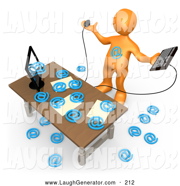 Humorous Clip Art of a Computer in an Office Flooding Email Addresses, Symbolizing Computer Viruses or Email Spamming
