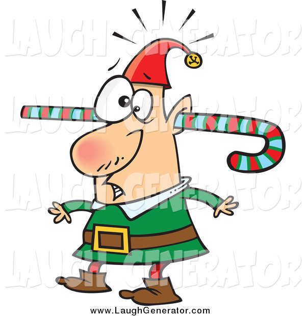 Humorous Clip Art of a Confused Christmas Elf Walking Around with a Colorful Striped Candy Cane Going Through One Ear and out the Other