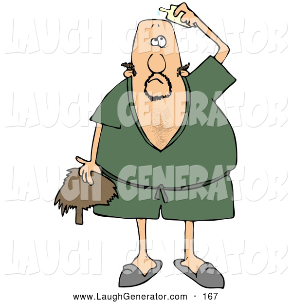Humorous Clip Art of a Confused Man Wearing a Green Robe and Slippers, Applying Hairpiece Glue on Top of His Bald Head to Make His Toupee Stay