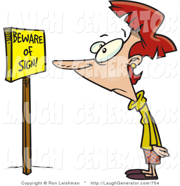 Humorous Clip Art of a Confused Red Headed Woman Reading a Sign That Says Beware of Sign