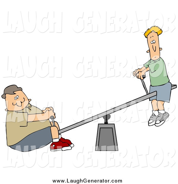 Humorous Clip Art of a Confused White Thin Boy up on a Teeter Totter, a Chubby Boy on the Other End