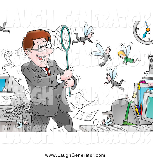 Humorous Clip Art of a Controlling Boss Catching His Fly Employees in a Net