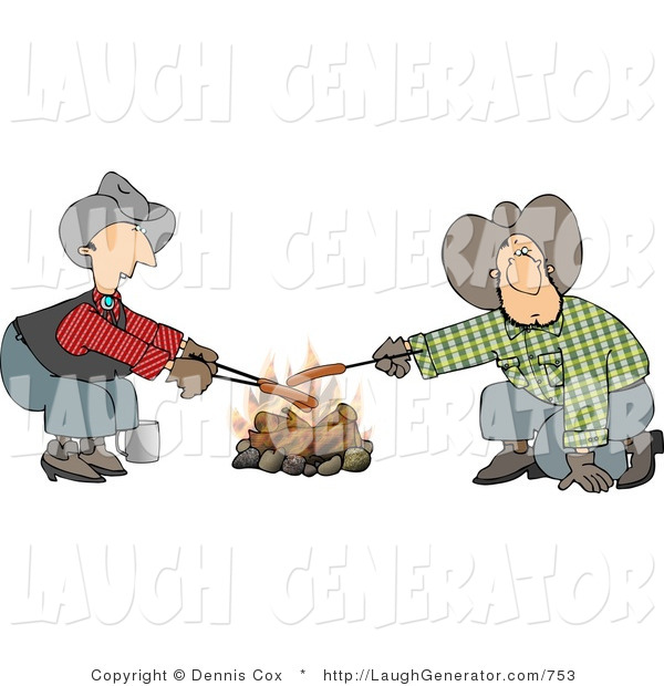 Humorous Clip Art of a Couple of Gay Cowboys Cooking Hot Dogs over a Campfire - Weeny Roast