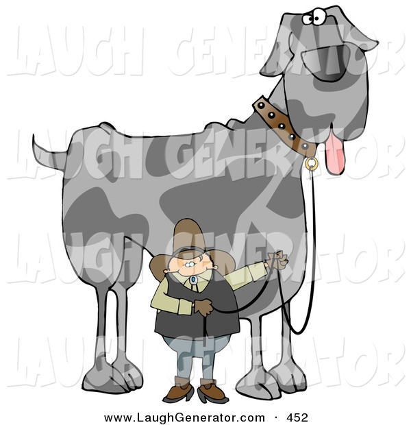 Humorous Clip Art of a Cowboy Walking a Giant Great Dane Dog on a Leash over White