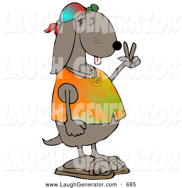 Humorous Clip Art of a Cute and Cool Brown Hippie Dog in a Tye Die Shirt and Sandals and Flashing the Peace Sign Gesture