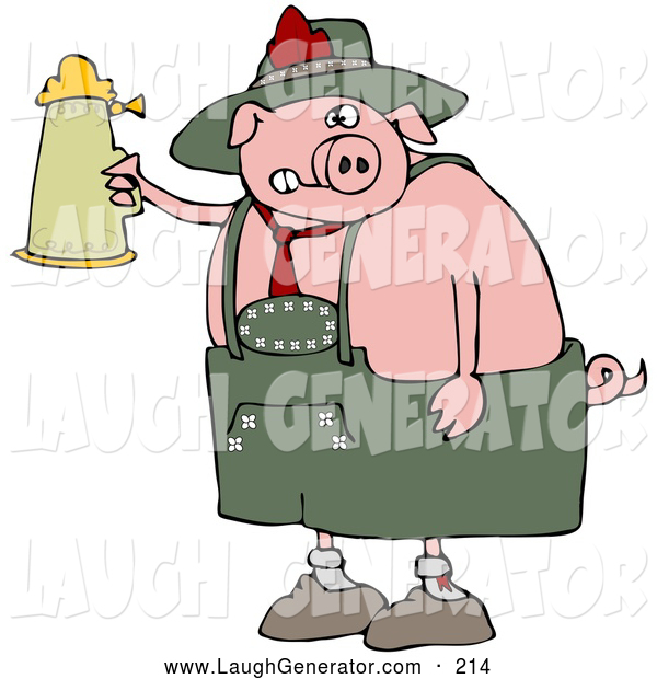 Humorous Clip Art of a Cute Drunk Pink Pig Drinking a Beer from a Setin at Oktoberfest