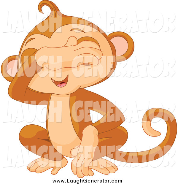 Humorous Clip Art of a Cute See No Evil Monkey Covering His Eyes