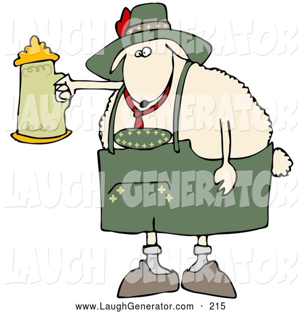 Humorous Clip Art of a Cute White Sheep Getting Drunk with a Beer Stein at Oktoberfes