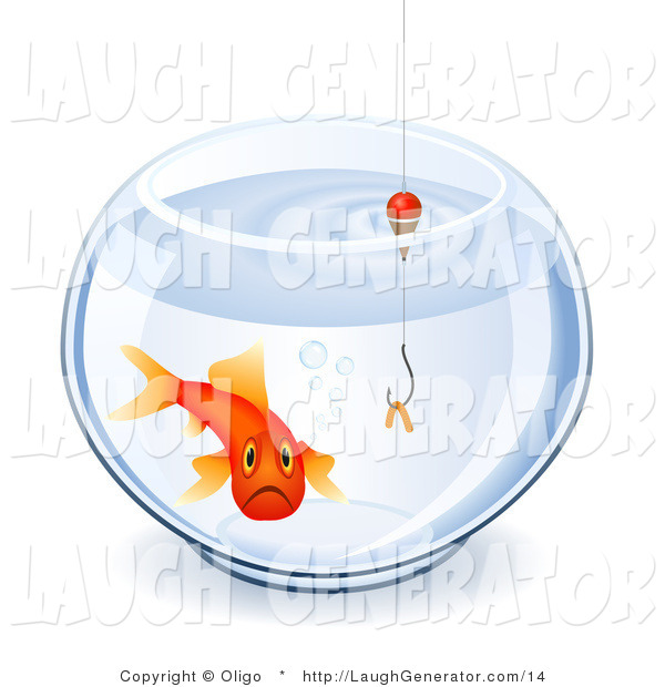Humorous Clip Art of a Depressed Goldfish Swimming in a Bowl with a Worm on a Hook
