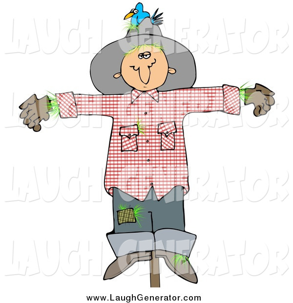 Humorous Clip Art of a Depressed Scarecrow
