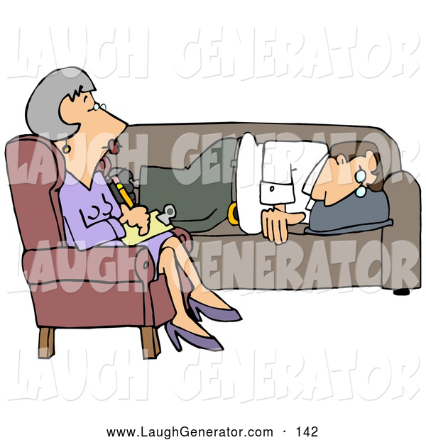 Humorous Clip Art of a Depressed White Man Lying on a Sofa in a Shrink