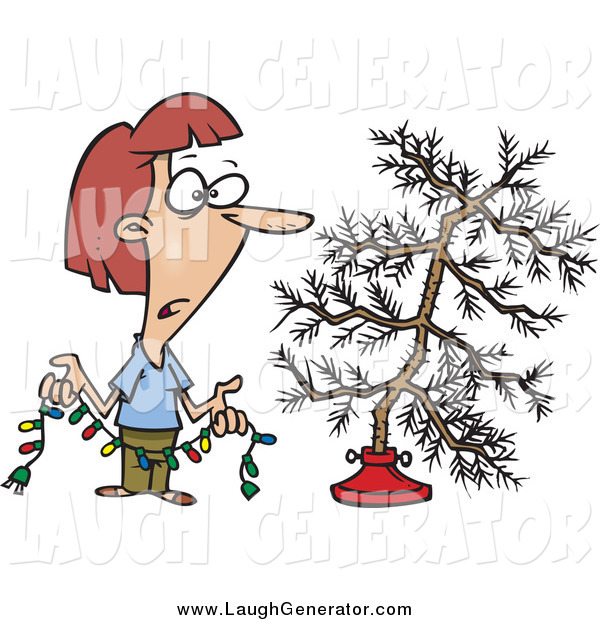 Humorous Clip Art of a Depressed Woman Holding Colorful Christmas Lights and Looking at Her Dead Christmas Tree in the Stand