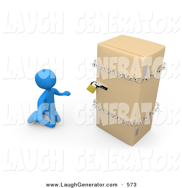 Humorous Clip Art of a Desperate Blue Guy on a Restricted Diet, Kneeling and Begging in Front of a Refrigerator That Is Chained and Locked