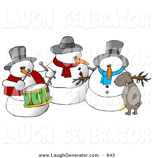 Humorous Clip Art of a Dog Urinating on a Snowman Trio