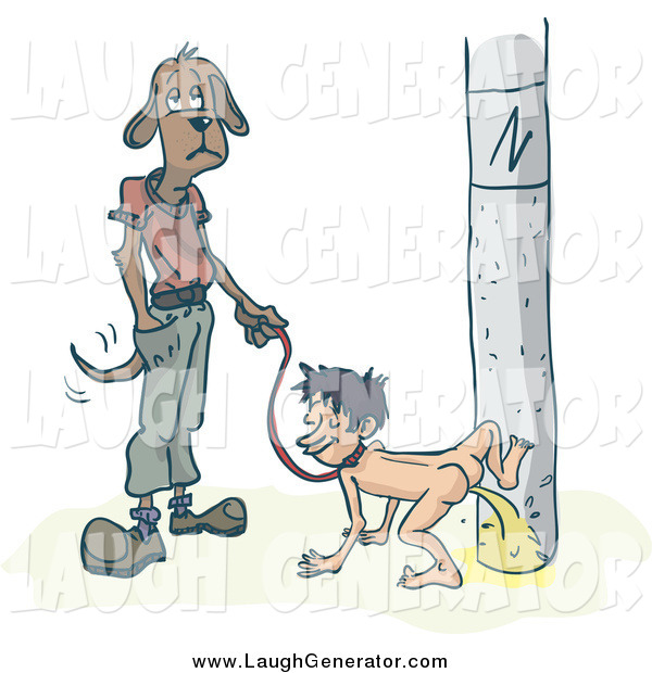 Humorous Clip Art of a Dog Waiting As His Human Pees on a Pole