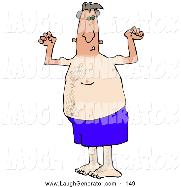 Humorous Clip Art of a Dorky and Chubby Middle Aged White Man in Blue Swimming Shorts, Flexing His Muscles and Showing off the Tan Lines from His Farmers Tan, on White