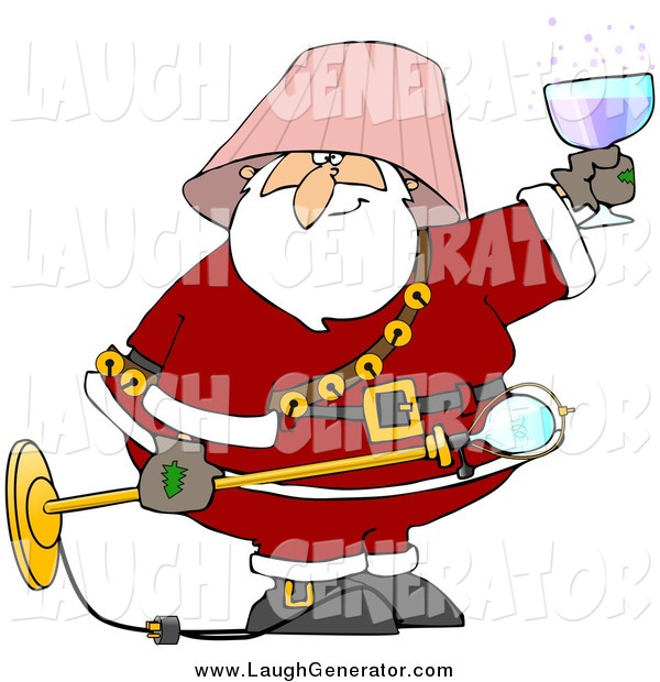 Humorous Clip Art of a Drunk Santa with a Lamp Shade on His Head, Holding a Light Fixture and Wine