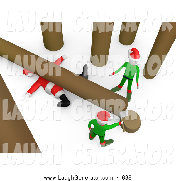 Humorous Clip Art of a Fallen Tree on Top of Poor Santa After an Elf Tries to Cut Firewood